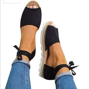 Womens Ankle Buckle Straps Espadrilles Cut out